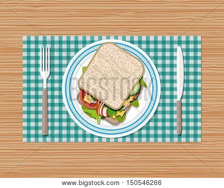 Sandwich on plate top view. fork and knife. toast bread, tomato, ham, salad and cheese. vector illustration in flat style on wooden background