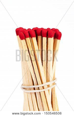 bundle of matches with rad heads isolated on white background close up