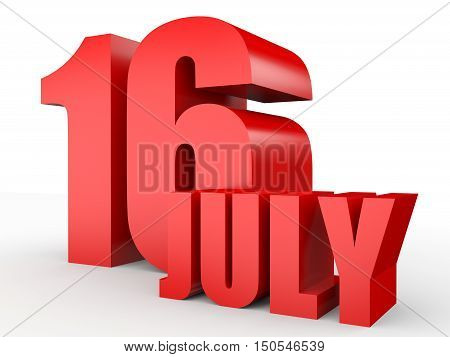 July 16. Text On White Background.
