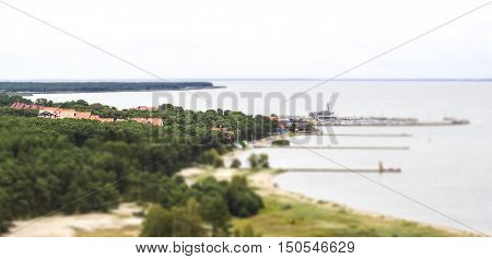 Nida - Curonian Spit and Curonian Lagoon Nida Klaipeda Lithuania. Nida harbour. Baltic Dunes. Unesco heritage.