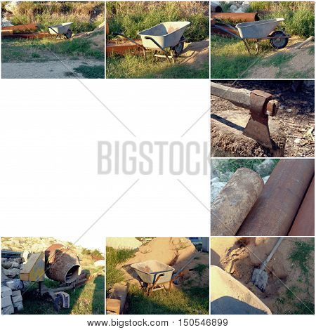Used cement mixer, rusty pipes, axe, one-wheel barrow and shovel with copyspace collage of images. Building repair concept.