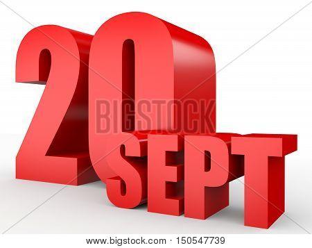 September 20. Text On White Background.