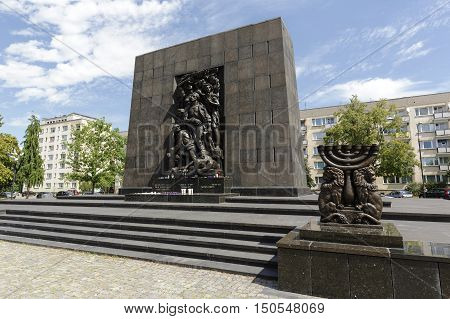 WARSAW POLAND - AUGUST 05 2016: Ghetto Heroes Monument that was unveiled on April 19 1948 commemorates the heroes who fought against the Nazis during the uprising in 1943