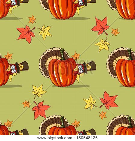 Seamless pattern made from hand drawn pumpkin, turkey and leaves. Vector illustration