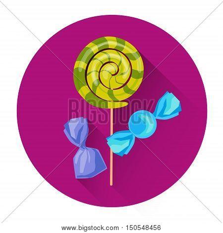 Sweet Candies Lollipop Halloween Holiday Icon Flat Vector Illustration
