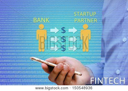 Financial and Technology (FinTech) concept. Banker to hire partners to prepare applications and mobile applications related to online transactions.