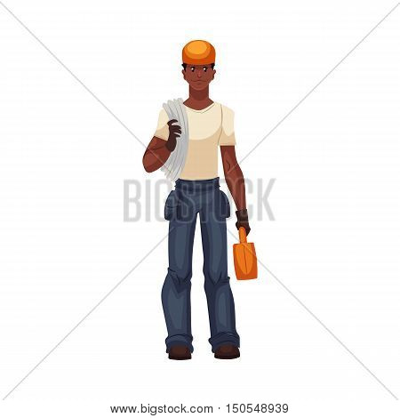 Full length portrait of young and handsome african worker, electrician, reparman, cartoon style vector illustration isolated on white background. Repairman, mechanic or plumber with a rope and toolbox