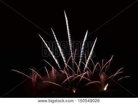 Colorful different colors, amazing fireworks with in Malta on Santa Maria day, Malta, dark sky background, Malta fireworks festival, 4 of July, Independence day, explode, various fireworks, fireworks