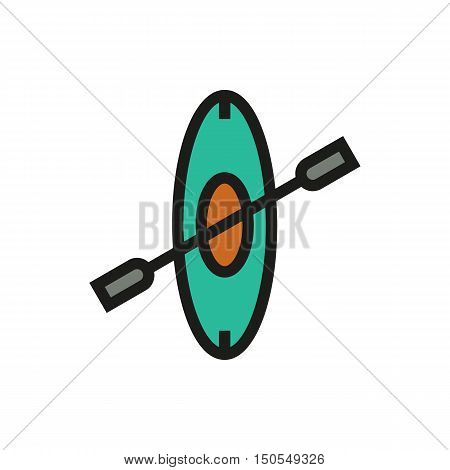Canoe icon on white background Created For Mobile Web Decor Print Products Applications. Icon isolated. Vector illustration.