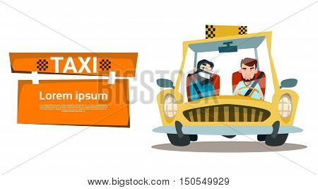 Taxi Service Two Man Cab City Transport Flat Vector Illustration