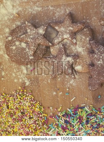 Hommade Christmas Gingerbread Cookies -soft Focus On Cookie Star