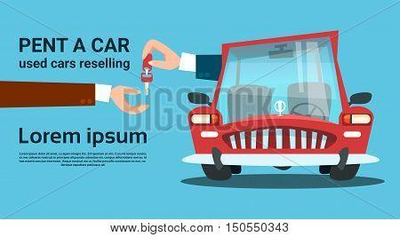 Hands Give Key Car Rent Service Flat Vector Illustration