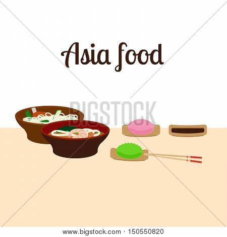 Asia food and chopstick logo. Vector illustration