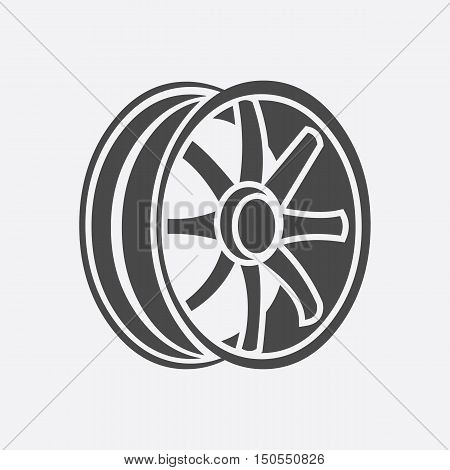 Car rims icon style. Single silhouette auto parts icon from the big car black - stock rastr