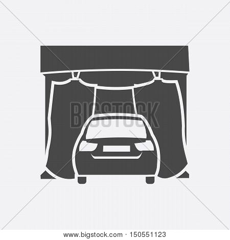 Car wash icon style. Single silhouette auto parts icon from the big car black - stock rastr