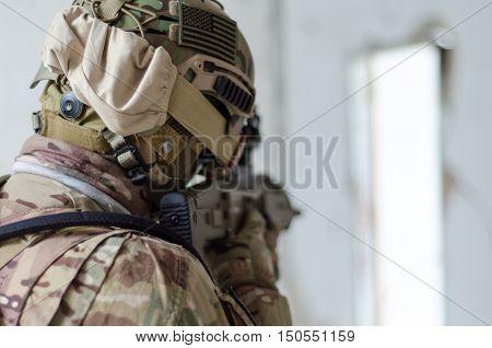 Airsoft soldier usa uniform rifle aim target