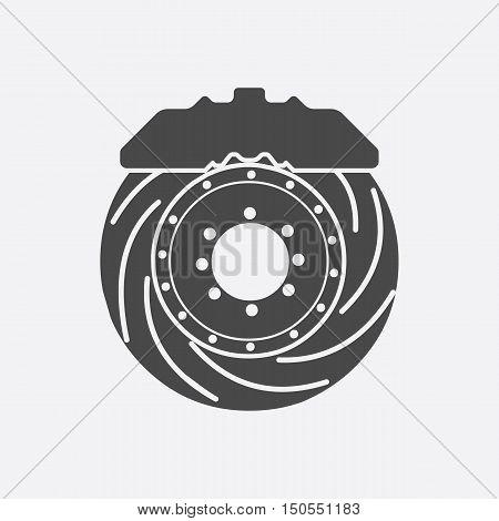 Brake shoe icon black style. Single silhouette auto parts icon from the big car black - stock rastr