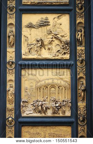 Gates of Paradise in the Baptistery of Saint John in Florence Italy