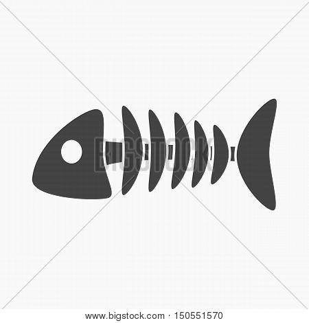 Fish bone icon of rastr illustration for web and mobile design