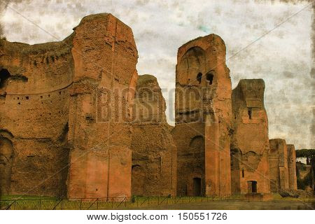 Vintage image of the Baths of Caracalla in Rome, Italy
