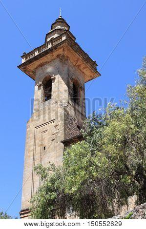 Belfry of St. Bartholomew church in Valldemossa. Majorca island Spain