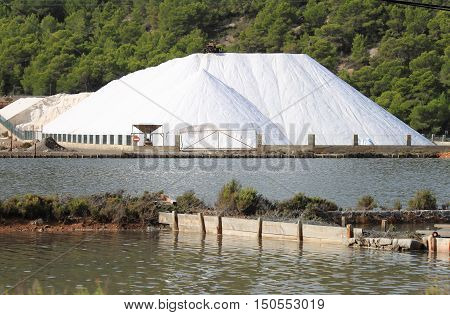 Mountain of salt in a marine salt production site