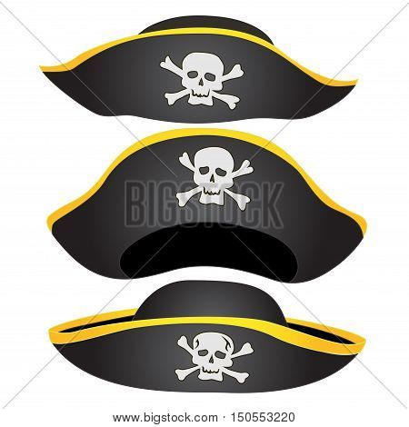 Set of Pirate Hat Isolated, Pirate Fancy Dress Hat with Jolly Roger
