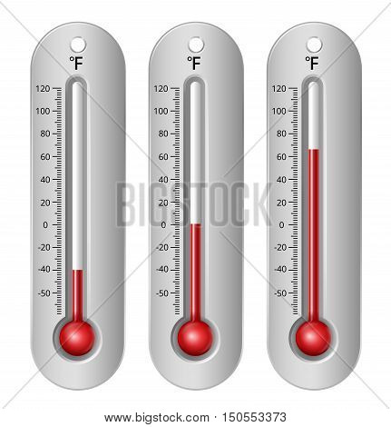 Thermometers with different levels fahrenheit scale. Vector Illustration