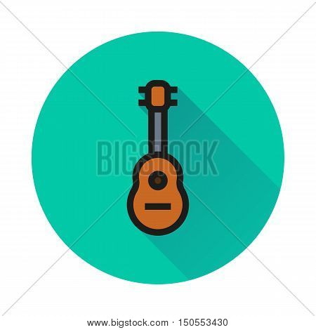 acoustic guitar icon on white background Created For Mobile Web Decor Print Products Applications. Icon isolated. Vector illustration.