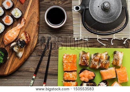 Appetizing sushi set in a classic serving. Image for the menu of cafes and restaurants and other design needs