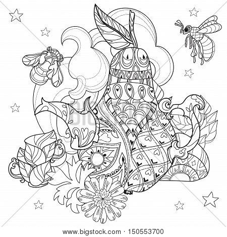 Honey tea pot pear doodle with cups and bees .Hand drawn vector illustration. Sketch for tattoo adult relax coloring anti stress book. Zen art collection boho style.