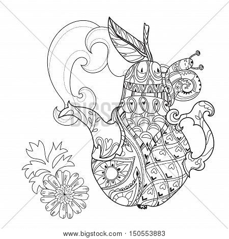 Honey tea pot pear doodle with baby snail .Hand drawn vector illustration. Sketch for tattoo adult relax coloring anti stress book. Zen art collection boho style.