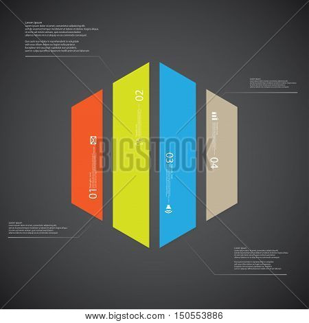 Hexagon Illustration Template Consists Of Four Color Parts On Dark Background