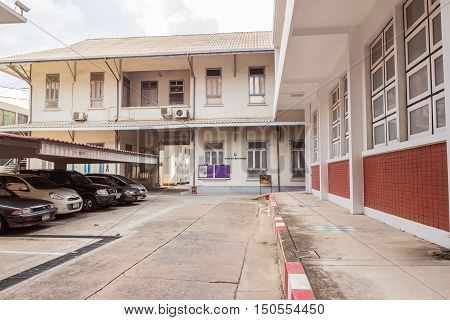 Bangkok Thailand - June 5 2016: Walkway and Buildings of electrical department Faculty of Engineering Chulalongkorn university