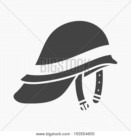 Firefighter Helmet icon black style. Single silhouette fire equipment icon from the big fire Department simple.