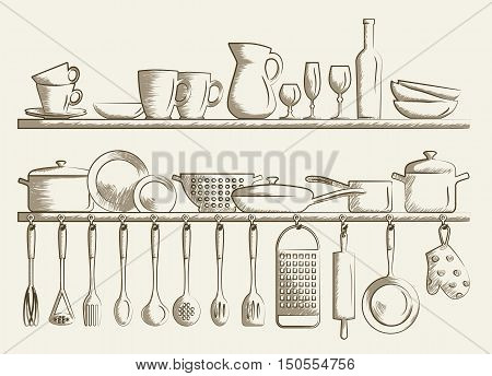Retro kitchen shelves and cooking utensils. Hand drawn cartoon doodle vector illustration.
