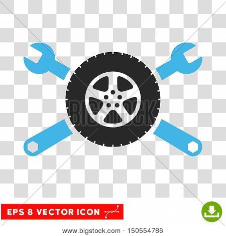 Vector Tire Service EPS vector pictograph. Illustration style is flat iconic bicolor blue and gray symbol on a transparent background.