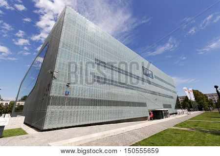 WARSAW POLAND - AUGUST 05 2016: Museum of the History of Polish Jews that is commonly known as The Polin. The museum documents the millennial tradition of Jews in Poland