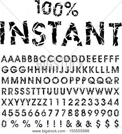 grunge broken alphabet, vector broken glass font, cut out letters, typeset with different solutions for each type