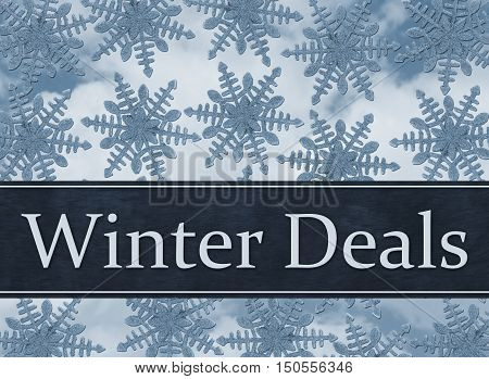 Winter Deals Message Blue Snowflake Background with text Winter Deals 3D Illustration