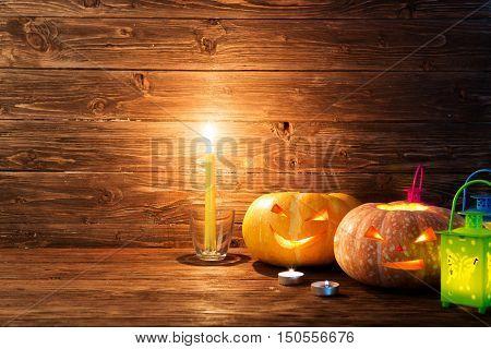 Scary Halloween Pumpkins Jack-o-lantern On Wooden Background