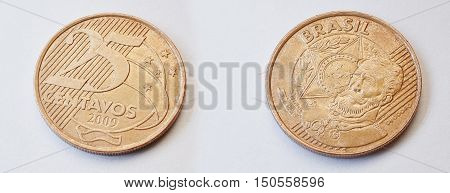 Set Of 25 Brazilian Centavos (2009) Shows Manuel Deodoro Da Fonseca (1827-1892), First President Bra