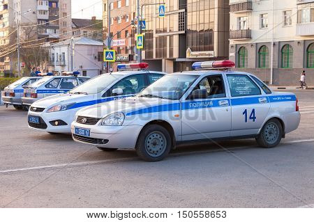 SAMARA RUSSIA - MAY 4 2015: Russian police patrol cars of the State Automobile Inspectorate parked on the city street in summer day