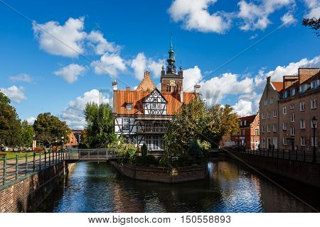 Gdansk Poland - October 04 2016: The House of Chocolate Mill famous restaurant in old city of Gdansk
