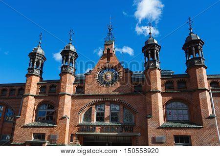 Gdansk Poland - October 04 2016: The facade of trading market in old city of Gdansk located on Rajska street