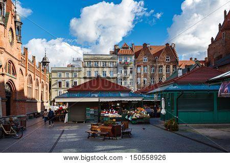 Gdansk Poland - October 04 2016: The trading market in old city of Gdansk located on Rajska street
