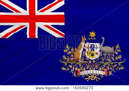 Flag of Australia is an Oceanian country comprising the mainland of the Australian continent the island of Tasmania and numerous smaller islands. 3d illustration