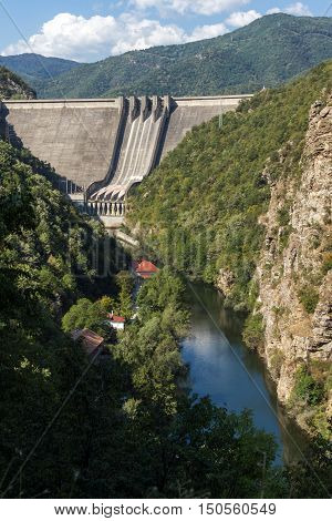 Landscape with Dam of the Vacha (Antonivanovtsy) Reservoir, Rhodopes Mountain, Bulgaria