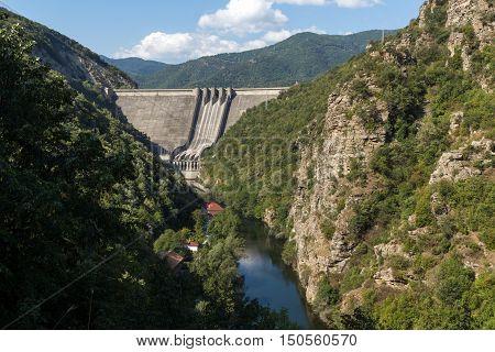 Amazing view Dam of the Vacha (Antonivanovtsy) Reservoir, Rhodopes Mountain, Bulgaria