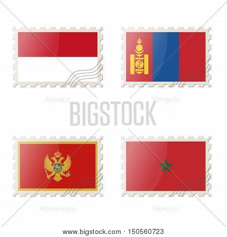 Postage Stamp With The Image Of Monaco, Mongolia, Montenegro, Morocco Flag.